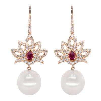 brilliant 101ct rubies 062ct pearls13 14mm