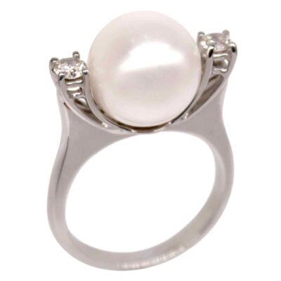R002 – Λευκά Διαμάντια 0,10Ct – Μαργαριτάρι Ακόγια Ιαπωνίας 8,5-9,0mm